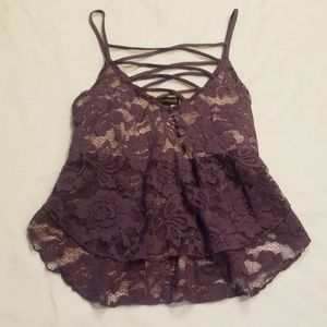 NWOT Express Purple Lace Tiered Tank